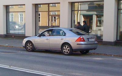 En hund som kör bil utanför Caroli City.